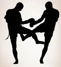 Muay Thai Sparring Wall Decal :: Asian Art Wall Stickers