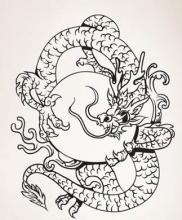 Circular Chinese Dragon Wall Decal :: Asian Art Wall Stickers