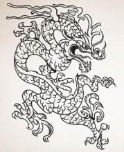Riled Chinese Dragon Wall Decal :: Asian Art Wall Stickers