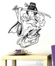 Geisha with Sword Wall Decal :: Asian Art Wall Stickers