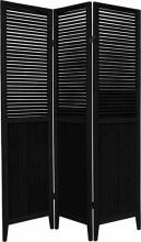 "Black 70"" Tall Wooden Beadboard Screen ::"