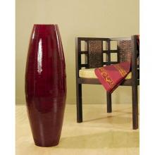 "47"" Red Mahogany Bamboo Oval Cylinder Large Floor Vase :: Bamboo Decor"