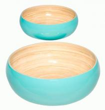 Blue Lacquered Salad Bowl Set of Two :: Bamboo Decor