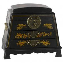 Black Lacquer Rounded Jewelry Box :: Oriental Boxes and Trunks