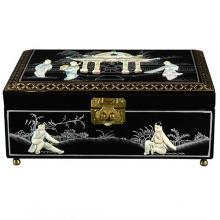 Clementina Jewelry Box in Black :: Oriental Boxes and Trunks
