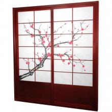 7 ft. Tall Rosewood Cherry Blossom Shoji Sliding Door Kit :: Shoji Sliding Doors