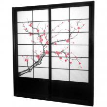 7 ft. Tall Black Cherry Blossom Shoji Sliding Door Kit :: Shoji Sliding Doors