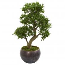 "37"" High Artificial Bonsai Tree In Metal Bowl :: Artificial Bonsai Trees"