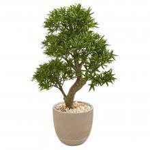 "40"" High Artificial Bonsai Tree In Sandstone Planter :: Artificial Bonsai Trees"