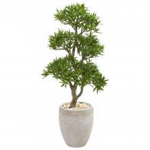 "43"" High Bonsai Styled Podocarpus Artificial Tree In Sandstone Planter :: Artificial Bonsai Trees"