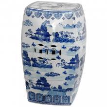 """18"""" Square Landscape Blue & White Porcelain Garden Stool :: Porcelain Garden Stools"""