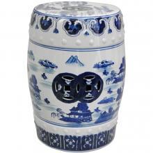 "18"" Floral Blue & White Porcelain Garden Stool :: Porcelain Garden Stools"