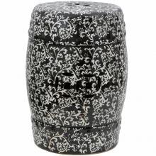 "18"" Black & White Floral Porcelain Garden Stool :: Porcelain Garden Stools"