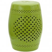 "18"" Green Lattice Porcelain Garden Stool :: Porcelain Garden Stools"