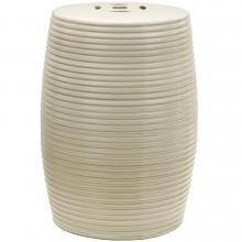 "18"" Beige Ribbed Porcelain Garden Stool :: Porcelain Garden Stools"