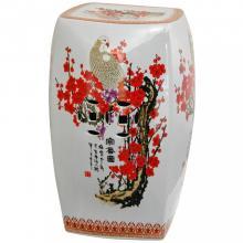 "18"" Square Cherry Blossom Porcelain Garden Stool :: Porcelain Garden Stools"