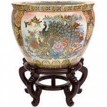 Satsuma Garden & Peacock Porcelain Fishbowl :: Chinese Fish Bowls
