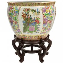 Satsuma Birds & Flowers Porcelain Fishbowl :: Chinese Fish Bowls