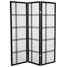 5 ft. Tall Double Cross Shoji Screen (Black Finish) :: Japanese Shoji Screens