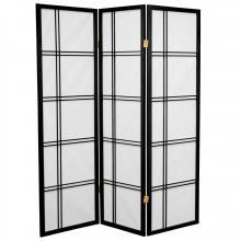 5 ft. Tall Double Cross Shoji Screen (Black Finish) ::