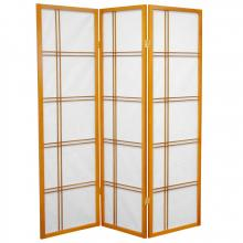5 ft. Tall Double Cross Shoji Screen (Honey Finish) :: Japanese Shoji Screens