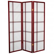 5 ft. Tall Double Cross Shoji Screen (Rosewood Finish) :: Japanese Shoji Screens