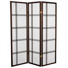 5 ft. Tall Double Cross Shoji Screen (Walnut Finish) :: Japanese Shoji Screens