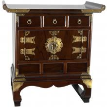 Korean Antique Style 3 Drawer End Table Cabinet :: Asian Style Furniture