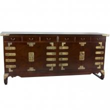 Korean Antique Style 8 Drawer Double Cabinet Credenza :: Asian Style Furniture