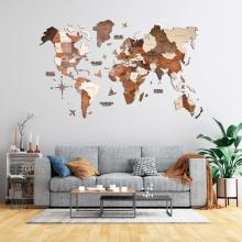 Multicolored 3D Wooden World Map :: 3D Wooden World Maps