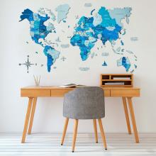 Azure 3D Wooden World Map with Rivers :: 3D Wooden World Maps