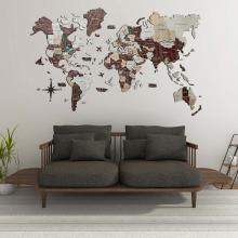 Cappuccino 3D Wooden World Map with Rivers :: 3D Wooden World Maps