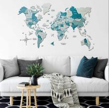 Aqua 3D Wooden World Map with Rivers :: 3D Wooden World Maps