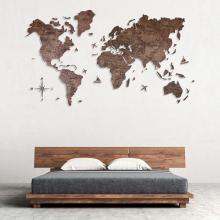Dark Walnut 2D Wooden World Map :: 2D Wooden World Maps