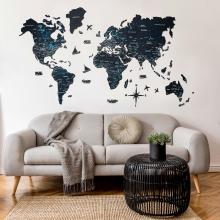 Black 2D Wooden World Map :: 2D Wooden World Maps