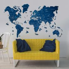 Navy Blue 2D Wooden World Map :: 2D Wooden World Maps