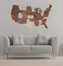Multicolored 3D Wooden USA Map :: Wooden USA Maps