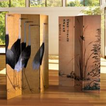6 ft. Tall Double Sided Cranes Room Divider :: Double Sided Shoji Screens