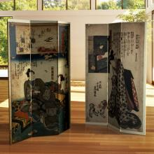 6 ft. Tall Double Sided Japanese Figures Room Divider :: Double Sided Shoji Screens