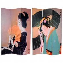 6 ft. Tall Double Sided Geisha Room Divider :: Double Sided Shoji Screens
