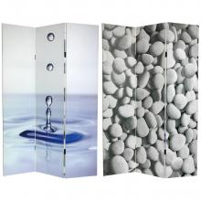 6 ft. Tall Double Sided Water Zen Canvas Room Divider :: Double Sided Shoji Screens