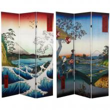 6 ft. Tall Double Sided Hiroshige Room Divider - Sea at Satta/Teahouse :: Double Sided Shoji Screens