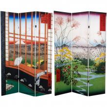 6 ft. Tall Double Sided Hiroshige Room Divider - Asakusa Rice Field/Otsuki Plain :: Double Sided Shoji Screens
