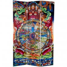 6 ft. Tall The Wheel of Life Double Sided Canvas Room Divider :: Double Sided Shoji Screens