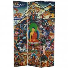 6 ft. Tall Footprints of Enlightenment Double Sided Canvas Room Divider :: Double Sided Shoji Screens