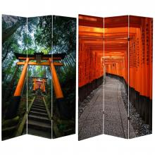 6 ft. Tall Double Sided Japanese Torii Gate Canvas Room Divider :: Double Sided Shoji Screens