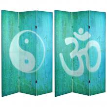 6 ft. Tall Double Sided Yin Yang/Om Canvas Room Divider :: Double Sided Shoji Screens