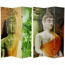 6 ft. Tall Draped Buddha Double Sided Room Divider :: Double Sided Shoji Screens