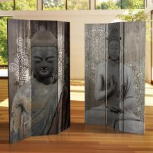 6 ft. Tall Double Sided Stone Buddha Canvas Room Divider :: Double Sided Shoji Screens
