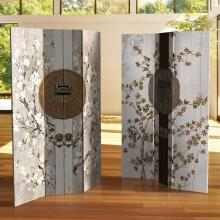 6 ft. Tall Double Sided Asian Lock Canvas Room Divider :: Double Sided Shoji Screens